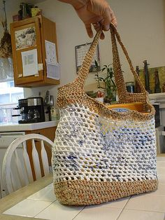 This tote bag is made from recycled plastic shopping bags. The base is approximately 12 x 8 inches. The bag stands aproximately 12 inches high and the handles are approximately 18 inches long.
