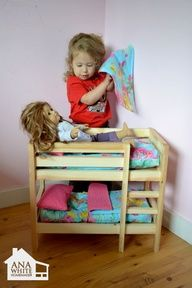 $10 DIY Bunk Bed for two dolls. We need more bunks for all the American Girl dolls that I am holding onto for my someday granddaughters to play with. I think my husband needs to build these for me...I mean, the kids. Pinning this for you, Peggy