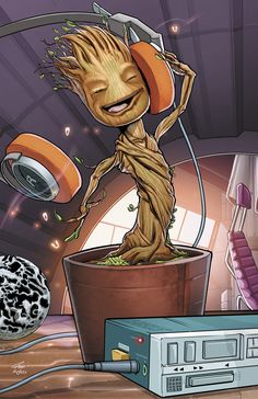"from Guardians of the Galaxy. ""I am Groot"". Baby Groot grooving to some music. Baby Groot, Marvel Comics, Marvel Heroes, Groot Comics, Captain Marvel, Marvel Avengers, Thanos Marvel, Comic Books Art, Comic Art"