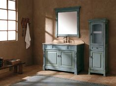 Get inspired by Rustic Bathroom Design photo by Wayfair. Wayfair lets you find the designer products in the photo and get ideas from thousands of other Rustic Bathroom Design photos. Blue Bathroom Vanity, Bathroom Vanity Cabinets, Wood Bathroom, Vanity Sink, Blue Bathrooms, Bathroom Plants, Glass Bathroom, Basement Bathroom, Bathroom Furniture