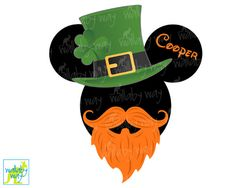 St. Patricks Day Mickey Printable Iron On Transfer or Use as Clip Art - DIY Disney Shirt, St Pats, Mickey Head, Download, Matching Shirts by TheWallabyWay on Etsy