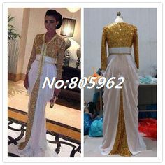 Find More Evening Dresses Information about 2014 Sexy Dubai Gold Sequins Chiffon Kaftan Evening Dresses A Line V Neck Long Sleeve Court Train Prom Gown Formal Dress R23,High Quality Evening Dresses from Suzhou Romantic Wedding Dress Co. Ltd on Aliexpress.com