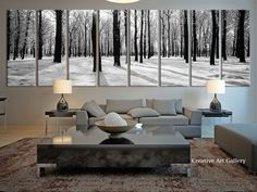 8 Panel Extra Large Poplar Tree Forest Canvas Print, Large Forest in Winter in the Forest Large Wall Art Canvas Print