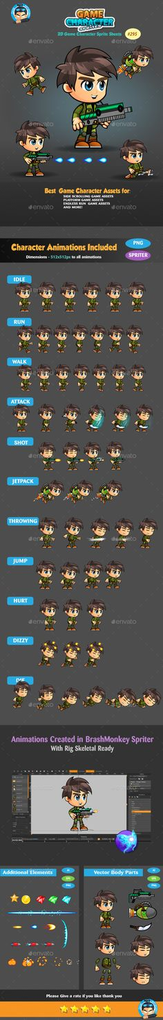 2D Game Character Sprites 295 Download here: https://graphicriver.net/item/2d-game-character-sprites-295/19280340?ref=KlitVogli