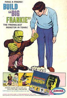 """1964 """"Big Frankie"""" kit by Aurora vintage Halloween toy ad  Frankenstein"""