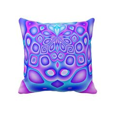 Abstract Blue and Purple Psychedelic Pattern Throw Pillow