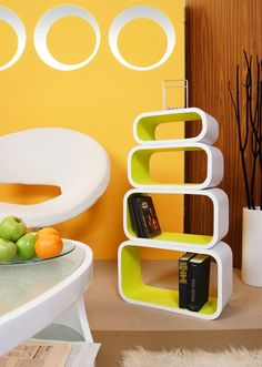 lime, yellow, decorating, shelves,modern, white but paint the outside black for more pop
