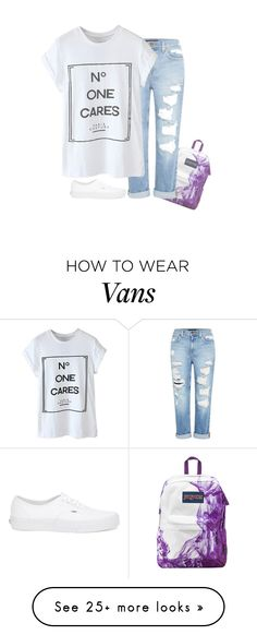 """""""Off to school in half an hour ~Bta"""" by l0ver-f0rever on Polyvore featuring JanSport, Genetic Denim and Vans"""