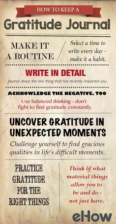 Simple ways on how to start, and keep, a gratitude journal. http://www.ehow.com/how_2088881_keep-gratitude-journal.html?utm_source=pinterest.com&utm_medium=referral&utm_content=blog&utm_campaign=fanpage