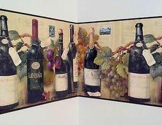 Wine Bottles Grapes Labels Kitchen Wine Cellar Den Office Wallpaper Border Sale | eBay