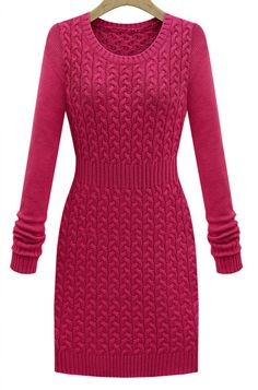 Rose Red Long Sleeve Cable Knit Sweater Dress