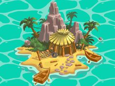 Adventure Island designed by Eran Michalovitz. Page Borders Design, Map Design, Adventure Island, Boat Drawing, Pirate Island, Fantasy Drawings, Digital Art Tutorial, Fantasy Map, Jungles