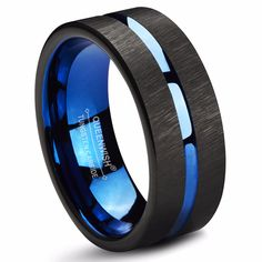 Queenwish Tungsten Rings 8mm Wedding Band Blue Center Groove Black Line Brushed Couples Engagement Rings Fashion Jewelry