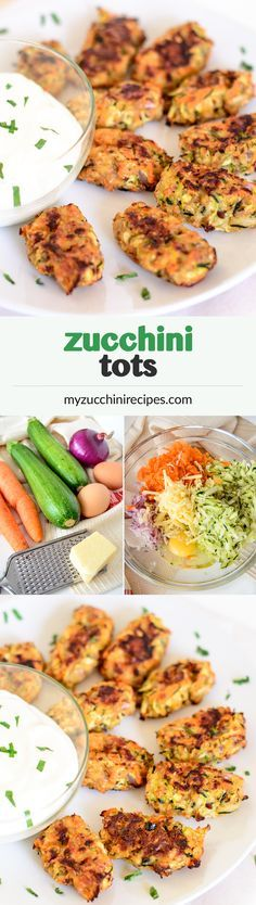 Easy, healthy and delicious zucchini tots, loaded with carrots, onion and cheese, baked quickly in the oven and served as a healthy veggie appetizer with the family's favorite dip #vegetarian
