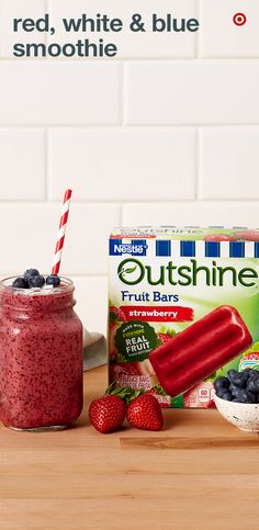 Add some red, white and blue to your summer smoothies. In a blender, add fresh strawberries, a diced up Outshine Strawberry Fruit Bar, yogurt and blueberries. Blend until smooth. Pour into glasses, garnish with some coconut shavings, and top with a few more blueberries. Your smoothie is ready to serve!