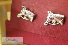 #gemelos de rodio con forma de cabeza de #caballo. Perfecto para #hombres amantes de este animal.