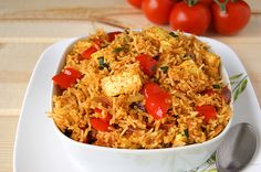 mast tomato pulao (Tofu can be seasoned and substituted for paneer).