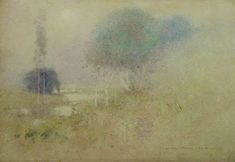 John William Tristram was an Australian watercolor painter with a poetic sense of softness and atmosphere. The forms seem v. Watercolor Portrait Painting, Watercolor Artists, Watercolor Techniques, Artist Painting, Landscape Art, Landscape Paintings, Landscapes, Australian Painting, American Artists