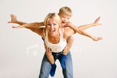 Mother and son high jinks Royalty Free Stock Photo