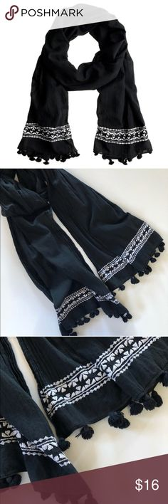 """J. Crew embroidered tassel fringe scarf J. Crew scarf in black with white embroidery. Missing one tassel, not noticeable when worn though. 80""""L x 30""""W. 100% cotton. J. Crew Accessories Scarves & Wraps"""