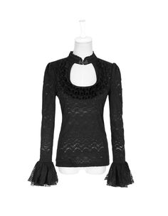Punk rave Women Gothic Jacquard T-shirt With Stand-up Collar And Trumpet Sleeve #punkrave #Blouse #Casual