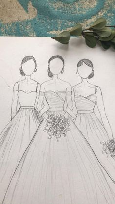 Wedding Dress Fashion Illustration I started these three gals last year and just came across them today. They are 3 versions of my CAMILLE gown which is a #simpleweddingdress featuring an a-line skirt and sweetheart neckline. My DreamBride is wearing her CAMILLE with off shoulder sleeves, the bridesmaid to the left is wearing straps and a plain bodice while the bridesmaid on the right is rocking a faux wrap ruched bodice and straps. Both bridesmaids are eating the tea length option, my…