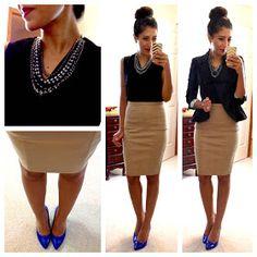 H top, Zara pencil skirt, H peplum jacket, LOFT necklace, Target Mossimo pumps