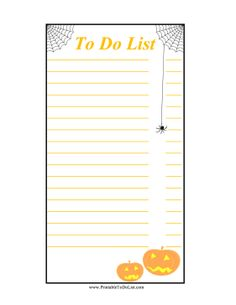Spiderwebs, a black spider and grinning jack-o-lanterns decorate this printable to do list for planning Halloween parties. Free to download and print