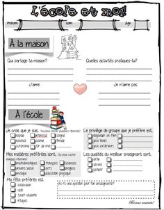 To get to know students French Classroom, Flipped Classroom, French Teacher, Teaching French, Teaching Jobs, Teaching Activities, Beginning Of School, First Day Of School, Building Classroom Community