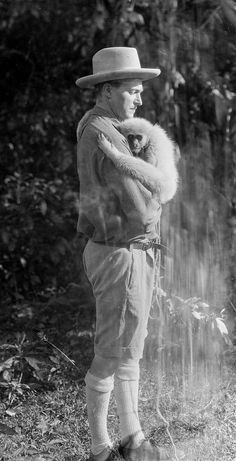 Director, writer and producer Merian C. Cooper with Bimbo the Monkey from Chang: A Drama of the Wilderness, 1927 (image via Flickhead) (Edit...