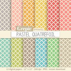 Quatrefoil digital paper PASTEL QUATREFOIL digital paper by Grepic  https://www.etsy.com/listing/151086697/quatrefoil-digital-paper-pastel?ref=shop_home_active_11