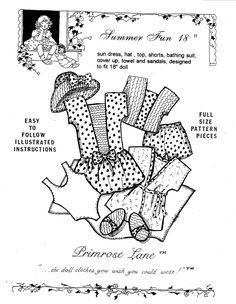 """Clothing Patterns for 18"""" American Girl Dolls - Primrose Lane"""