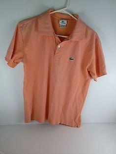 Men's sz 4 MEDIUM Lacoste short sleeve solid polo shirt orange coral Cotton