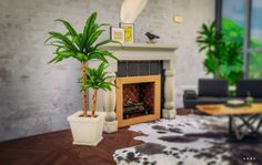 White Potted Palm I Plants I Decoration I  by Alachie & Brick Sims via anbs.co  I Maxis Match I Sims 4 I TS4 I CC I