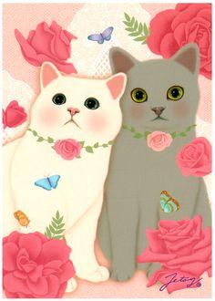Jetoy Choo Choo Cat Postcard: Romantic