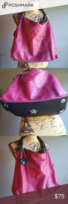 Gabs Italian Leather Pink and Turquoise Hobo Bag A beautiful Italian leather purse  Gorgeously made Great details A small mark can be seen in the fourth pic Very clean  Great pre-loved condition Smoke free home Gabs Bags Hobos