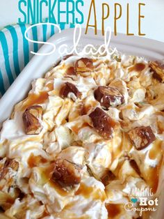 snickers salad 3 Snickers Caramel Apple Salad Recipe via @Raining Hot Coupons