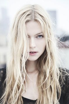 Long, blonde waves.