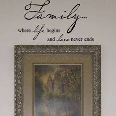 "Wall Sayings Vinyl Lettering Family Where Life Begins and Love Never Ends 12.5"" H x 23"" W Vinyl Lettering Wall Sayings Art Decor Decal Sticker Word"