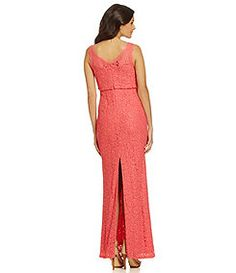 Adrianna Papell Sleeveless Lace Blouson Gown