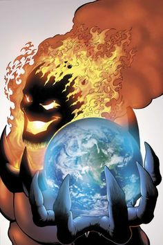 Dormammu.  Nothing says bad guy like an evil sorcerer from another dimension with delusions of grandeur.  Art by Kevin Maguire.