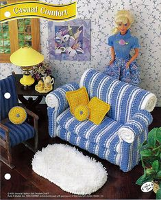 Casual Comfort Couch Crochet Barbie Furniture Patterns Annies Fashion Doll Crochet Club. $6.00, via Etsy.