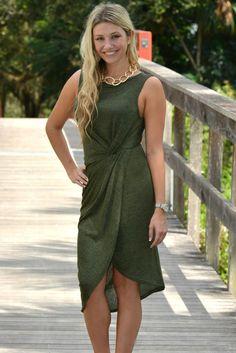 Girl Boss Olive Twist Dress - Shop Simply Me –boutique – www.SHOPSIMPLYME.com - #ishopsimplyme – Naples, FL