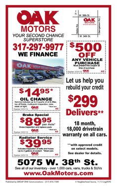 Oak Motors coupons on west 38th Street in Indy. From My Neighborhood Source November issue. Coupons expire 12/31/13. Print & save!