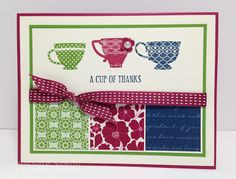 by Sandy Mathis, Stamp With Sandy: Tea Shoppe Meets Print Poetry Thank You For Birthday Wishes, Birthday Cards, Tea Party Invitations, Thanks Card, Coffee Cards, Friendship Cards, Card Sketches, Paper Cards, Vintage Cards