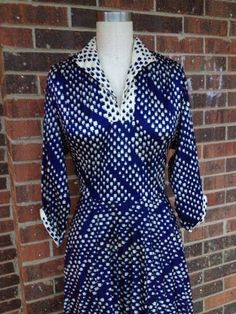 Blue and White Print Rockabilly Dress