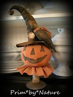 Primitive Halloween Pumpkin Witch and Crow Make do Fall Decor