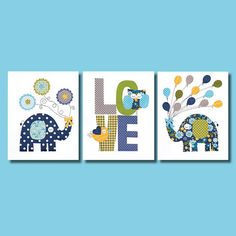 Love Colorful Animal Nursery Artwork Print Baby Room Decoration // Kids Room Decoration // Gifts Under 20 // Little Boys Room wall art