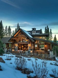 Mountain modern home in Martis Camp with indoor-outdoor living - Lodge style home blends rustic-contemporary in Martis Camp Best Picture For home decor signs For - Modern Mountain Home, Mountain Homes, Log Cabin Homes, Log Cabins, Lodge Style, Rustic Contemporary, Cabins And Cottages, Dream House Exterior, Indoor Outdoor Living