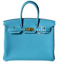 Créateurs de Luxe - 35cm Hermès Turquoise Togo Leather Birkin Handbag - Gold Hardware Gold Handbags, Hermes Handbags, Handbags On Sale, Turquoise, Hermes Birkin, Gold Hardware, Leather, Lush, Gold Bags